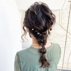 フェミニン ゆるふわ ヘアアレンジ 編み込み ヘアスタイルや髪型の写真・画像