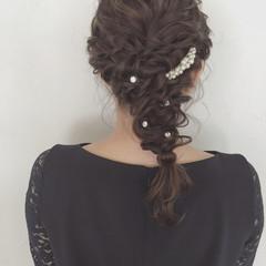 女子会 結婚式 ヘアアレンジ セミロング ヘアスタイルや髪型の写真・画像