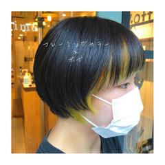 ツヤ髪 黒髪ショート モード ショートボブ ヘアスタイルや髪型の写真・画像