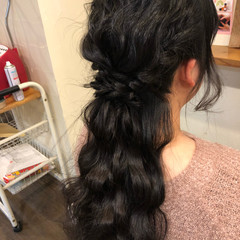 簡単ヘアアレンジ ヘアアレンジ ロング 黒髪 ヘアスタイルや髪型の写真・画像
