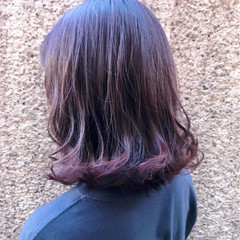 ガーリー ボブ パープル 透明感 ヘアスタイルや髪型の写真・画像