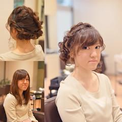 セミロング ヘアアレンジ まとめ髪 結婚式 ヘアスタイルや髪型の写真・画像