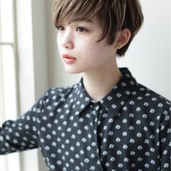 ショート 小顔 似合わせ ショートボブ ヘアスタイルや髪型の写真・画像