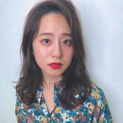 前髪パーマ ナチュラル 前髪あり セミロング ヘアスタイルや髪型の写真・画像