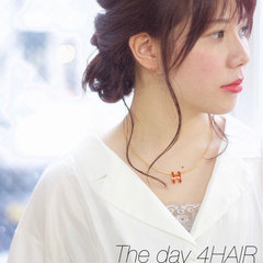 愛され ヘアアレンジ セミロング ラベンダーピンク ヘアスタイルや髪型の写真・画像