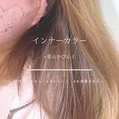 フェミニン ミルクティー ミディアム ピンクベージュ ヘアスタイルや髪型の写真・画像