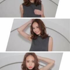 ミディアム モテ髪 愛され センターパート ヘアスタイルや髪型の写真・画像