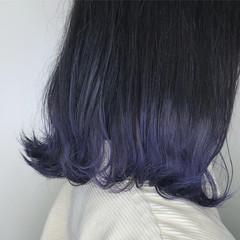 ストリート ブリーチ ネイビーブルー 外ハネボブ ヘアスタイルや髪型の写真・画像