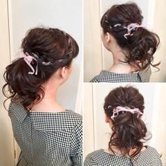 ゆるふわ 編み込み セミロング ポニーテール ヘアスタイルや髪型の写真・画像