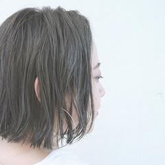 グラデーションカラー アッシュ ボブ 切りっぱなし ヘアスタイルや髪型の写真・画像