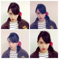 三つ編み ストリート オン眉 秋 ヘアスタイルや髪型の写真・画像