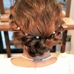 大人かわいい ヘアアレンジ 結婚式 ボブ ヘアスタイルや髪型の写真・画像