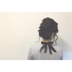 ミディアム 簡単ヘアアレンジ 黒髪 ヘアアレンジ ヘアスタイルや髪型の写真・画像
