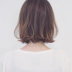 ナチュラル ボブ グラデーションカラー ハイライト ヘアスタイルや髪型の写真・画像
