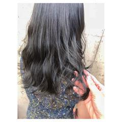 ネイビー ハイライト セミロング ブルー ヘアスタイルや髪型の写真・画像