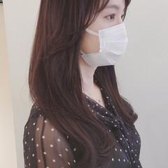 ロング ヘアカット 韓国風ヘアー エレガント ヘアスタイルや髪型の写真・画像