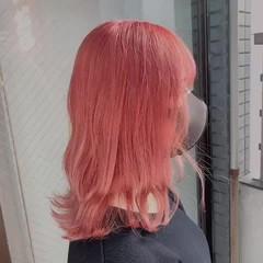 ミディアム ブリーチカラー ブリーチ ピンク ヘアスタイルや髪型の写真・画像