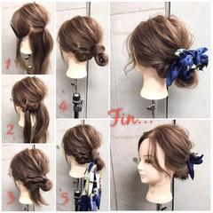 フェミニン ナチュラル セミロング 簡単ヘアアレンジ ヘアスタイルや髪型の写真・画像
