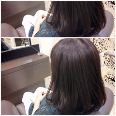 フェミニン ミディアム 大人かわいい 暗髪 ヘアスタイルや髪型の写真・画像