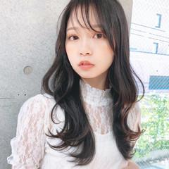 フェミニン 大人女子 韓国風ヘアー シースルーバング ヘアスタイルや髪型の写真・画像