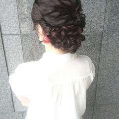 編み込み セミロング ヘアアレンジ 結婚式 ヘアスタイルや髪型の写真・画像