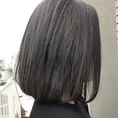 グレージュ ボブ 透明感 ダークアッシュ ヘアスタイルや髪型の写真・画像