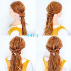 フェミニン アウトドア 簡単ヘアアレンジ ロング ヘアスタイルや髪型の写真・画像