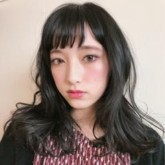 斜め前髪 フリンジバング アンニュイ セミロング ヘアスタイルや髪型の写真・画像
