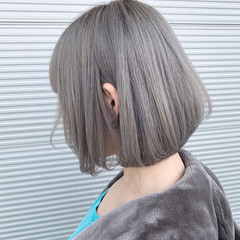 モード ボブ ホワイトシルバー シルバーアッシュ ヘアスタイルや髪型の写真・画像