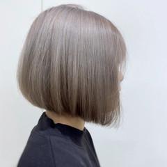 ブリーチカラー ミニボブ 切りっぱなしボブ ボブ ヘアスタイルや髪型の写真・画像
