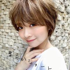 前髪あり ショート ショートヘア ふんわり前髪 ヘアスタイルや髪型の写真・画像