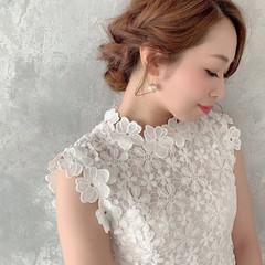 結婚式ヘアアレンジ セミロング ふわふわヘアアレンジ ヘアアレンジ ヘアスタイルや髪型の写真・画像