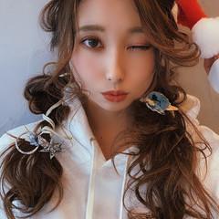 ロング ふわふわヘアアレンジ ヘアアレンジ クリスマスアレンジ ヘアスタイルや髪型の写真・画像