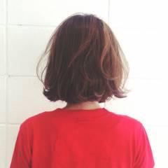 ゆるふわ マルサラ ナチュラル ボブ ヘアスタイルや髪型の写真・画像