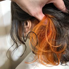 ブリーチカラー ボブ インナーカラーオレンジ オレンジ ヘアスタイルや髪型の写真・画像