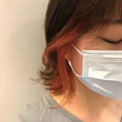 ブラットオレンジ アプリコットオレンジ インナーカラーオレンジ ガーリー ヘアスタイルや髪型の写真・画像