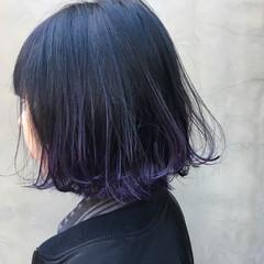 モード グラデーションカラー ボブ 暗髪 ヘアスタイルや髪型の写真・画像