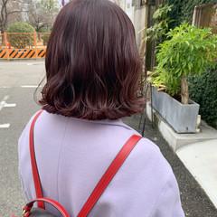 バイオレットカラー ボブ ピンクバイオレット 波ウェーブ ヘアスタイルや髪型の写真・画像