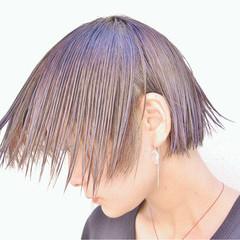 外ハネ ハイライト グラデーションカラー ショート ヘアスタイルや髪型の写真・画像