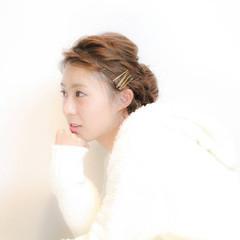 三つ編み 大人かわいい 結婚式 編み込み ヘアスタイルや髪型の写真・画像