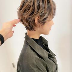 イルミナカラー ショートヘア コンサバ ボブ ヘアスタイルや髪型の写真・画像