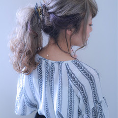 ポニーテール ダブルカラー 結婚式 ロング ヘアスタイルや髪型の写真・画像