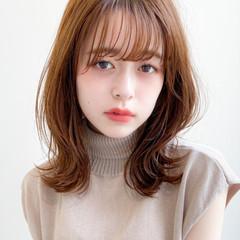 アンニュイほつれヘア ミディアム ナチュラル 極細ハイライト ヘアスタイルや髪型の写真・画像