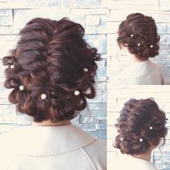 エレガント キュート セミロング 結婚式 ヘアスタイルや髪型の写真・画像