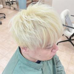 ダブルブリーチ メンズ ショート ホワイトブリーチ ヘアスタイルや髪型の写真・画像