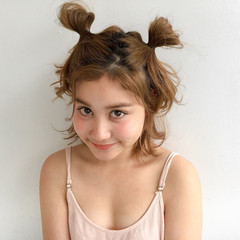くせ毛風 簡単ヘアアレンジ ボブ ピュア ヘアスタイルや髪型の写真・画像