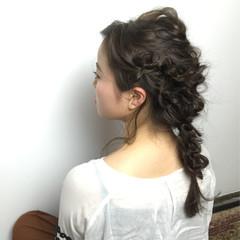 大人かわいい ヘアアレンジ セミロング 編み込み ヘアスタイルや髪型の写真・画像