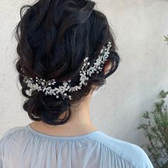 結婚式ヘアアレンジ 結婚式髪型 ミディアム 花嫁 ヘアスタイルや髪型の写真・画像