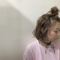 ガーリー ヘアアクセ ヘアアレンジ ボブ ヘアスタイルや髪型の写真・画像