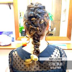 編み込み ゆるふわ ヘアアレンジ セミロング ヘアスタイルや髪型の写真・画像